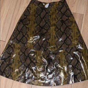 Zara Leather Look Python Skirt